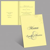 Menu de table jaune format A4
