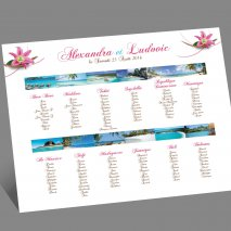 Plan de table mariage tropical
