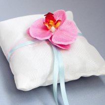 Coussin porte alliance tropical orchidée