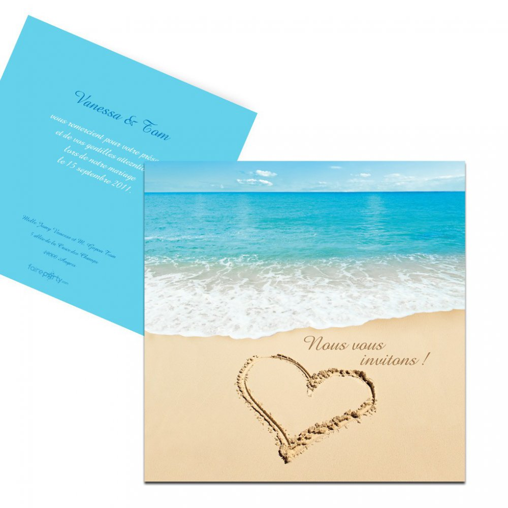 carton d 39 invitation mariage la plage. Black Bedroom Furniture Sets. Home Design Ideas