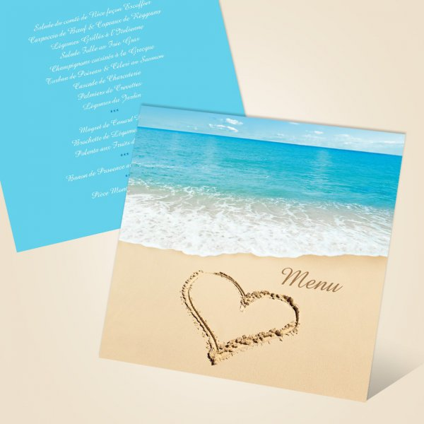 menu de mariage plage mer et coeur romantique. Black Bedroom Furniture Sets. Home Design Ideas
