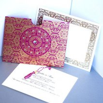 Faire part indien pochette bollywood fuchsia