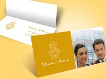 Faire-part mariage arabe main de fatma et photo